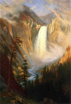 This is Yellowstone Falls by a transcendentalist named Albert Bierstadt.