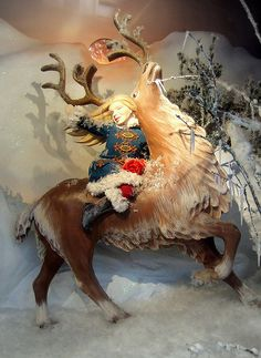 Fortnum & Mason Christmas window display Use my large metal deer  or bevs santa deers