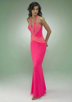 Alluring Deep Pink Color for Casrin Bridal Cire Chiffon Sleeveless Prom Dress Combines Halter Top Neckline and Sheath Silhouette in Zipper Up Back Style P127 #shopsimple #weddingdress #wedding gowns