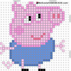Peppa Pig George Pig hama beads pattern - could be converted to tapestry crochet Hama Beads Design, Hama Beads Patterns, Beading Patterns, Cross Stitching, Cross Stitch Embroidery, Cross Stitch Patterns, Pearler Beads, Fuse Beads, Crochet Chart