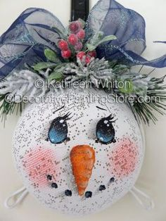 The Decorative Painting Store: Snowman Strainer ePattern - Kathleen Whiton - PDF… Christmas Snowman, Winter Christmas, Christmas Bulbs, Christmas Decorations, Snowman Crafts, Christmas Projects, Holiday Crafts, Painted Ornaments, Xmas Ornaments