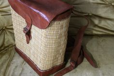 wicker and leather retro backpack- picnic everyday or school- multi style- lovely- on sale