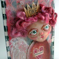 Amazed  mixed media shelf art OOAK lowbrow angel by WonderStrumpet, $35.00