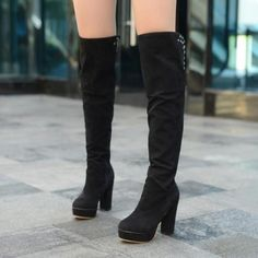 Women's Over Knee High Heel Platform Boots Winter Snow Boots Sizes – SmeebleShop Warm Boots, Winter Snow Boots, Knee High Heels, High Heel Boots, Platform Boots, Winter Wardrobe, Over The Knee Boots, Footwear, Shoes