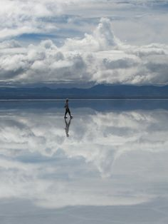Walking on a cloud, water reflections, man against Mother Nature, breathtaking, panorama, landscape, photo, amazing.