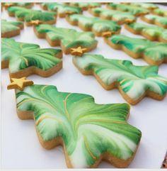 Marbled christmas tree cookies