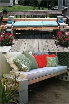 Inexpensive way to spruce up a fire pit area or ba… Budget Friendly Patio Design. Inexpensive way to spruce up a fire pit area or back porch/patio with guest seating. Cinder Block Furniture, Cinder Block Bench, Cinder Block Garden, Cinder Blocks, Outdoor Spaces, Outdoor Living, Outdoor Decor, Outdoor Benches, Indoor Outdoor