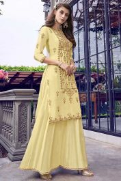 Light Yellow Color Designer Suit In Embroidered Top Fabric Muslin Indian Dresses, Indian Outfits, Fashion Pants, Fashion Outfits, Gown With Jacket, Yellow Suit, Suits Online Shopping, Designer Salwar Suits, Suit Fabric
