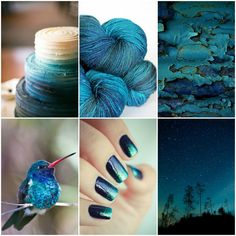 Sources, top to bottom, left to right ::wedding cake, TFA Amber Label in Deep Sea,chipped paint,hummingbird,Ombre nails,night sky.