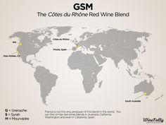 "[Map] ""GSM, The Côte du Rhône Red Wine Blend"" Dec-2013 by Winefolly – (G=Grenache, S=Syrah; M=Mourvèdre)"