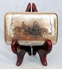 Zigarettenetui TROIKA Silber 84 NIELLO  RUSSLAND  um 1891 cigarette case NIELLO