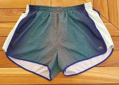 Pink Victorias Secret blue polka dot running jogging workout shorts womens L #VictoriasSecret #Shorts