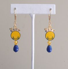 Golden State Warriors We Play in a Golden City Swarovski Blue Pearl and Gold Crystal Leverback Earrings by scbeachbling on Etsy