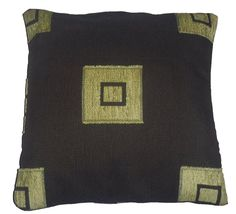 Quality Chocolate & Lime Square Pattern Woven Tapestry Fabric Cushion Cover