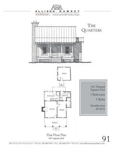 Quarters - AllisonRamseyArchitects This plan is 662 Heated Square Feet, 1 Bedroom & 1 Bathroom. Carolina Inspirations Book I, Page plan is 662 Heated Square Feet, 1 Bedroom & 1 Bathroom. Carolina Inspirations Book I, Page Cabin Plans, Shed Plans, Bungalows, Small Cottages, Small Houses, Tiny Cabins, House Blueprints, Small House Plans, Cabins In The Woods