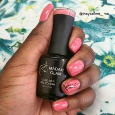 Coral Flirt soak of gel nail polish by Madam Glam   Flirty and feminine, here is an adorable coral/salmon pink you'll never get boared of wearing!  Durability : 3 to 4 weeks  Curing time : 2 minutes by UV Lamp, 30 sec by LED   Visit us on www.madamglam.com