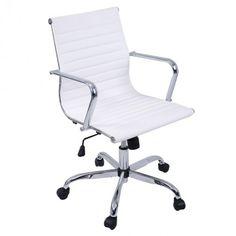 Modern PU Leather Ergonomic Mid Back Office Chair Executive Computer Desk