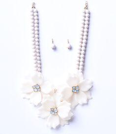 Ivory Floral  Ball Drop Earring  Necklace Statement Set $28.00 AT vintagedancer.com
