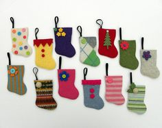 Advent Calendar Rescued Wool Mini Stocking Ornaments by aliciatodd, $98.99