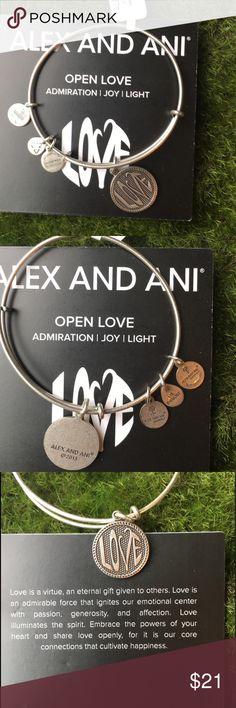 💥 NWT Alex and Ani Bangle Alex and Ani Silver Bangle With Love Charm.  NWT and comes with gift bag. Alex & Ani Jewelry Bracelets