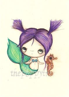 Mermaid Painting Whimsical Girl with Seahorse ---Original Watercolor Painting 5 x 7