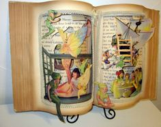 Peter Pan Altered book popup style 1931 vintage Peter Pan vintage childrens book Restored and Altered 12x20 ready to display a bit of never never land Great for the book lover or Peter Pan Fan comes in a keepsake box with stand