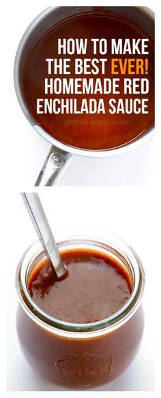 Homemade Red Enchilada Sauce -- you'll never buy the store-bought stuff again! | www.gimmesomeoven.com #vegetarian #vegan #glutenfree