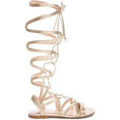 Gianvito Rossi Napa Silk Gladiator Sandals found on Polyvore featuring shoes, sandals, laced sandals, laced up flats, lace up flat shoes, gianvito rossi sandals and flat shoes