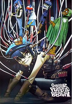 "J-4044 Gorillaz English Visual Electronic Rock Band Music Wall Decoration Poster Size 24""x35"""