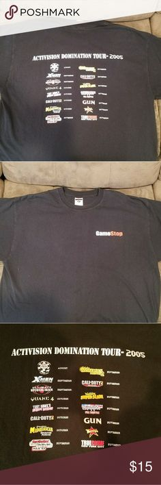 Activision x gamestop t-shirt (2005) Activision Domination Tour 2005 T-Shirt List of Video games on back, gamestop logo on front. Great condition, no cracking or stains. Heavywieght cotton. Size XL (fits like a Large) activision Shirts Tees - Short Sleeve