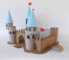 A princess chateau with cardboard and toilet paper rolls