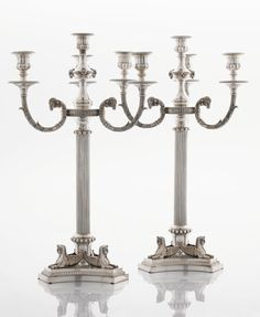 A PAIR OF VICTORIAN SILVER PLATED CANDELABRA. Maker unknownpossibly English circa 1870  sc 1 st  Pinterest & English Silver Plate Candelabra Silver Plated 5 Arm Candelabra ...