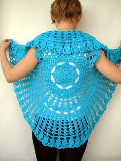 Mandala Fashion Shrug Cotton turcoise Vest Woman Hand Crocheted Circle shrug