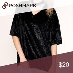 e69f9d2e666 Boohoo Plus Black Velvet Choker Low V-Neck Top Super cute and comfy shirt  with