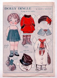 "Vintage Dolly Dingle Paper Dolls 1931 Uncut Snowman Costume Toy Bunny ""Carrots"" | eBay"