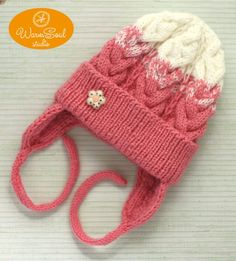 92bda9ab716 Baby girl knit hat Pink Beanie for Baby Knit girl white hat Kids hat  knitted Toddler girl beanie Win