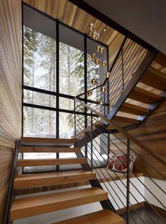 Modern staircase design ideas - surf inspiring images of modern stairs. Interior Stairs, Interior Architecture, Interior And Exterior, Stairs Architecture, Stairs Window, House Stairs, Wood Stairs, Wood Walls, Wood Wood