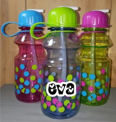 These adorable 16 ounce water bottles are the perfect size to grab and go, plus they are personalized! Choice of colors include: pink bottle with blue lid blue