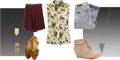 Sleeveless bird blouse with burgundy skirt and sandals or polka dot skinny jeans and beige wedge ankle boots
