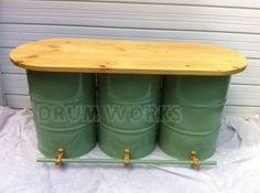 oil drum seats for sale Drum Seat, Trade Show Design, Oil Barrel, 55 Gallon Drum, Cool Garages, Metal Drum, Steel Barrel, Oil Drum, Metal Projects