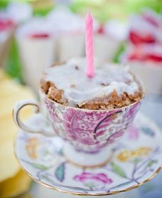 Tea Party Birthday - Good idea for a pressie. Get an cup and saucer from 2nd hand shop add cake and voila!!!