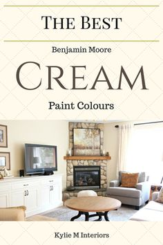 The best Benjamin Moore cream paint colours for a room. Including Gentle Cream, Muslin and Navajo White by Kylie M Interiors (Living room) Ivory Paint Color, Cream Paint Colors, Best Paint Colors, Paint Colors For Home, Paint Colours, Cream Wall Paint, Off White Paint Colors, Country Paint Colors, Milk Paint