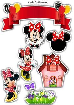 Minnie Mouse Birthday Decorations, Minnie Mouse Theme Party, Red Minnie Mouse, Mouse Parties, Bolo Minnie, Happy Birthday Cake Topper, Disney Princess Party, Disney Scrapbook, Baby Disney