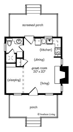 Home Plans HOMEPW24182 - 412 Square Feet, 1 Bedroom 1 Bathroom Cottage Home with