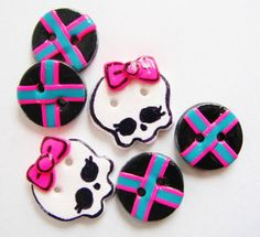 Button Monster High Skulls handmade polymer clay button set ( 6 )