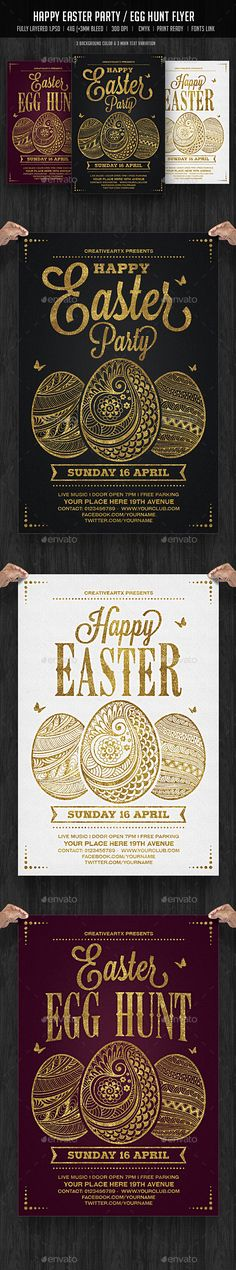 Happy Easter Party / Egg Hunt Flyer — Photoshop PSD #flyer #invitation • Download ➝ https://graphicriver.net/item/happy-easter-party-egg-hunt-flyer/19524033?ref=pxcr