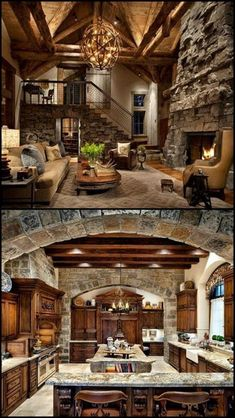 39 Gorgeous Rustic Living Rooms With Charming Stone Fireplace > Fieltro.Net Rustic house gorgeous rustic living rooms with charming stone fireplace 9 > Fieltro. Log Cabin Homes, Log Cabins, Log Cabin Kitchens, Log Cabin Living, Tuscan Kitchens, Mountain Cabins, House Goals, Cozy House, My Dream Home