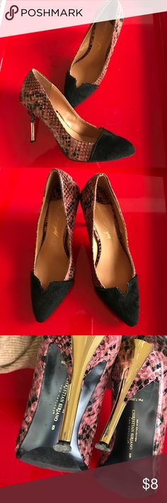 Christian Siriano heels, size 6 Stunning! These beauties feature faux snakeskin & suede with gorgeous gold mirrored heels. Heels show some wear (see pics) but are guaranteed to dress up any outfit. Christian Siriano Shoes