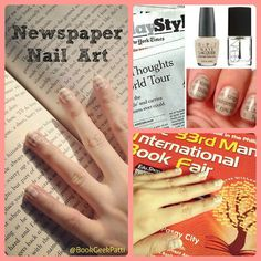 Newspaper Nail Art How-To:   Paint nails white or beige & let dry. Dip nail in alcohol (isopropyl, ethyl or vodka) for 2-3 secs. Lay a small newspaper cut-out on top of the nail & press down til the surface of the paper is wet & evenly pressed against the nail, 5-10 secs. Depending on the ink, it can sometimes take 20-30 secs. Be careful not to leave the paper on too long or it will stick to the nail. Remove paper & paint nail with clear top coat. Voila!   (Upper right image: Beauty and Lace)