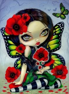 Poppy Magic butterfly flower fairy art print by Jasmine Becket-Griffith 8x10